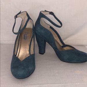 Teal ankle strap heel